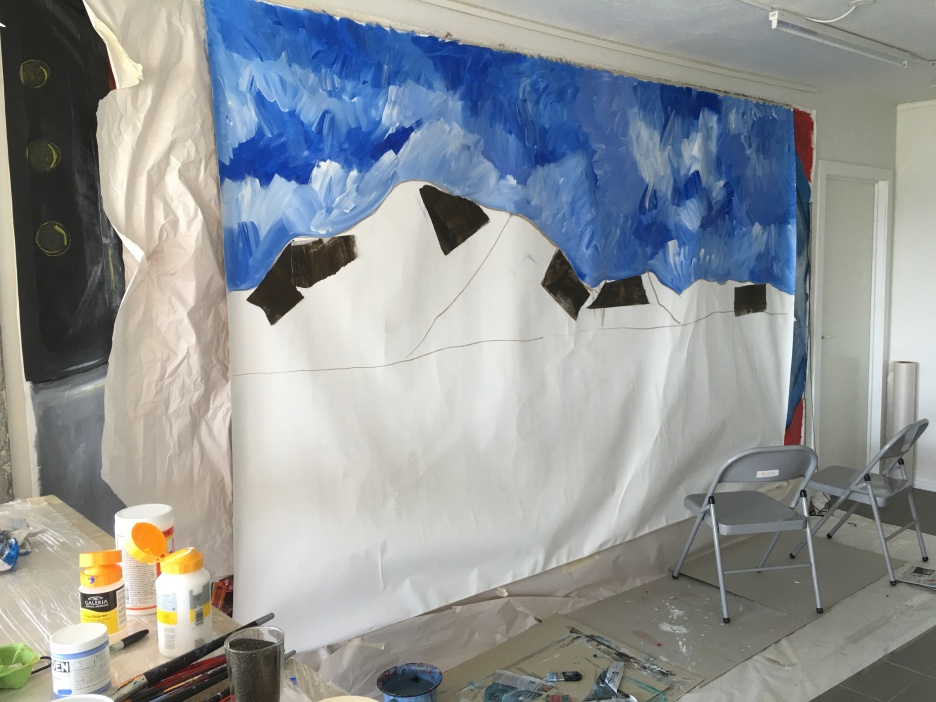 Starting out with a 9' x 6' canvas, attached to the wall, unstretched