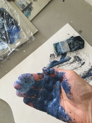 Using my hands to apply, the brush can't hold it properly.